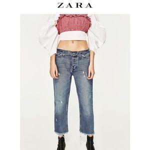 Zara Cropped Rolled Waist Raw Hem Jeans Size 26